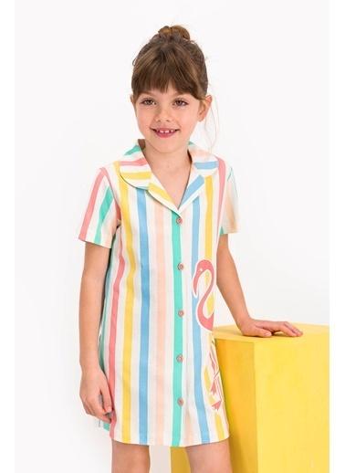 U.S. Polo Assn. Lisanslı Striped Vanilya Kız Çocuk Elbise Beyaz